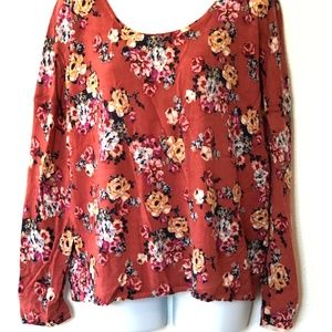 Garnet Hill Large Sweater 100% Merino Wool Floral